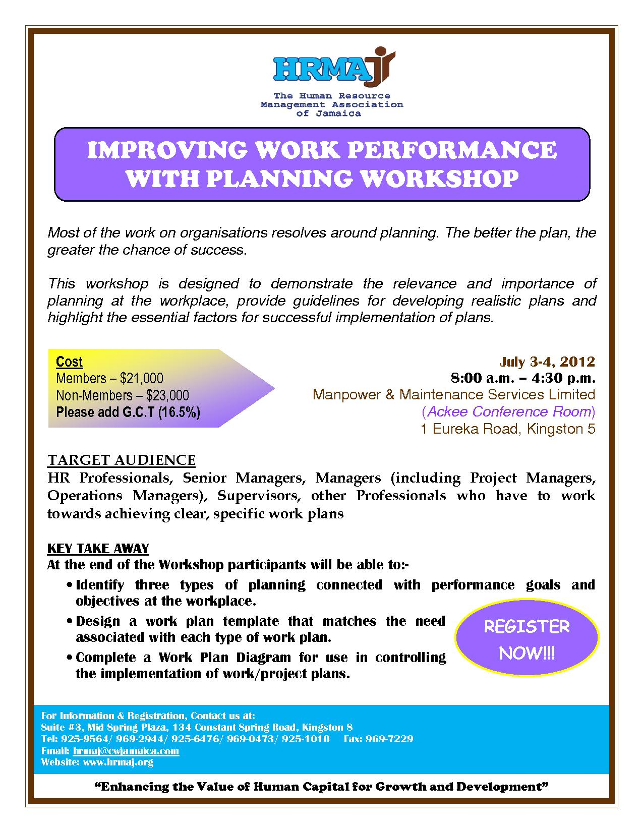 Improving Work Performance with Planning Workshop