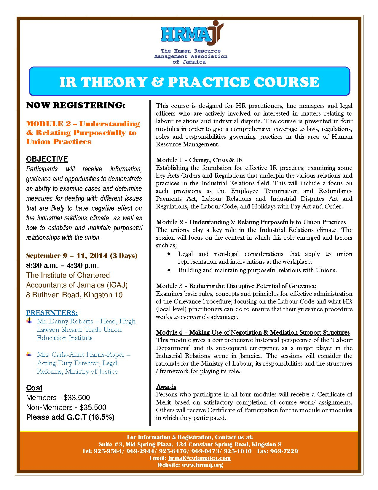 IR Theory Practice Course Flyer (Module 2)