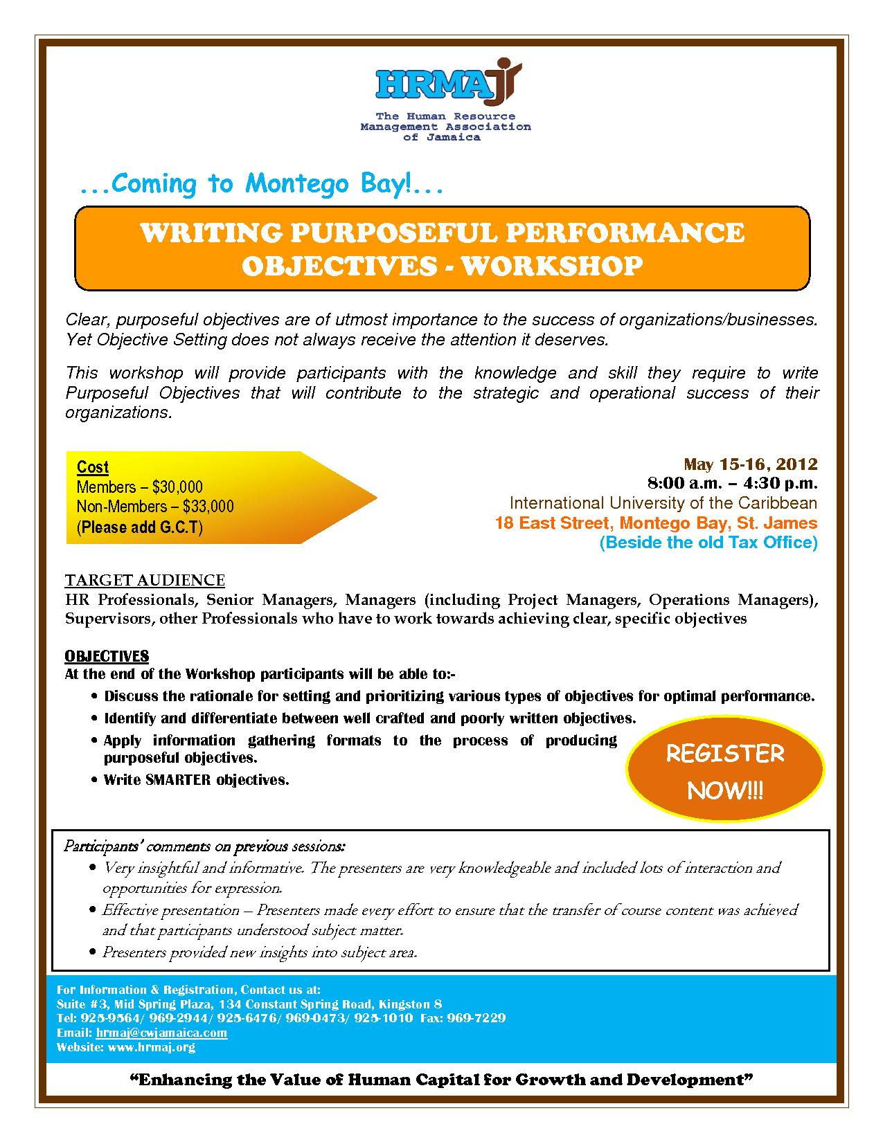 Writing Purposeful Performance Objectives Workshop